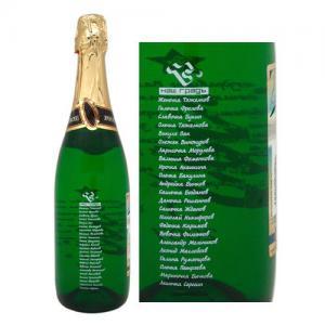 Оформление бутылки шампанского к Новому году - имена и надписи на шампанском